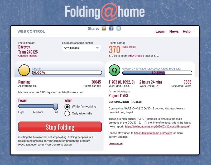 Folding At Home webportal